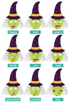 Set di emozioni da strega grande set di facce dei cartoni animati personaggio di halloween che esprime la raccolta di emozioni