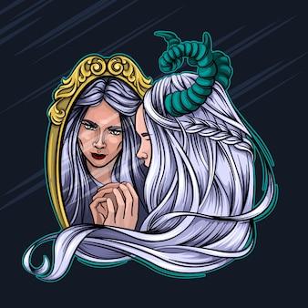 L'illustrazione di vettore di halloween del fauno della strega