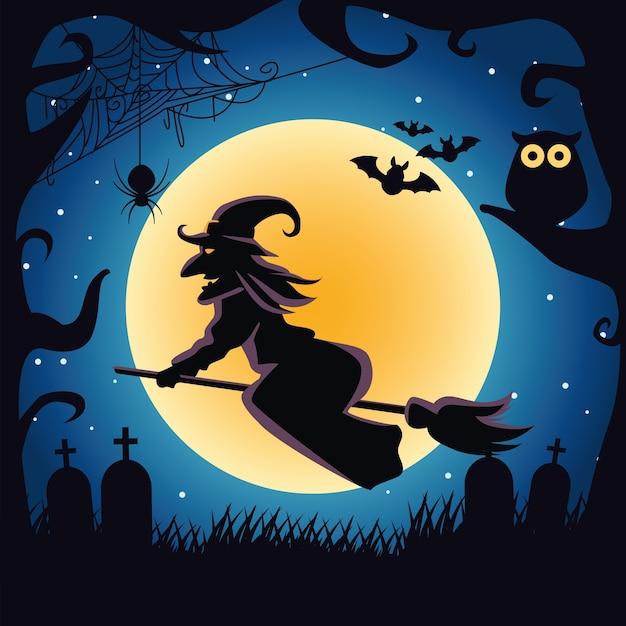 Strega che vola in scopa con scena notturna gufo e pipistrelli