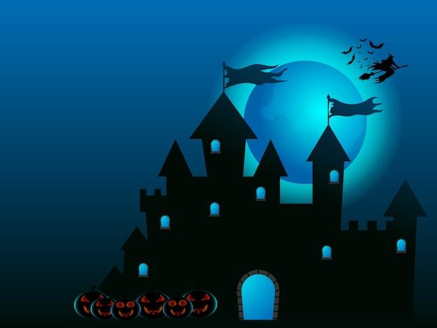 Strega che vola sul castello e zucche nell'illustrazione del fumetto di notte di halloween