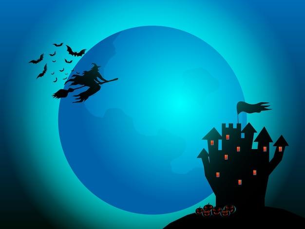 Strega che vola con i pipistrelli e la luna piena nell'illustrazione del fumetto di notte di halloween