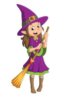 La strega tiene in mano la scopa magica per l'halloween dell'illustrazione