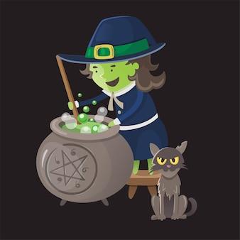 Strega in abito tradizionale che fa bollire liquido verde nel calderone gatto seduto vicino al suo vettore di halloween