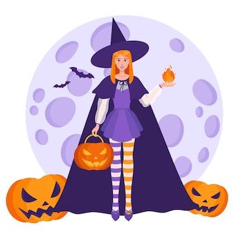 Ragazza strega con una palla di fuoco in mano e zucche arancioni di halloween sullo sfondo di una luna piena e pipistrelli.