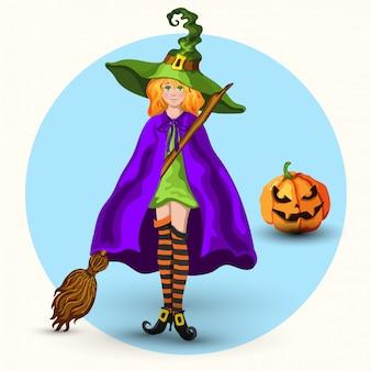 Strega con cappello verde e lanterna di zucca