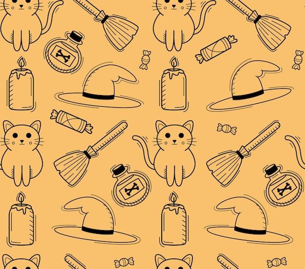 Strega halloween seamless pattern con gatto, scopa e cappello in stile linea semplice