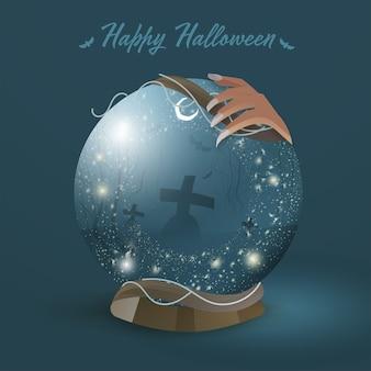 Mano della strega che tiene palla magica con scena notturna del cimitero su sfondo blu verde acqua per la celebrazione di halloween felice.