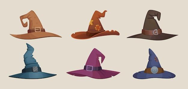 Cappello da strega. simboli spaventosi del cappuccio femminile nero per la raccolta dei vestiti di vettore del partito di halloween. cappelli spaventosi tradizionali per halloween, berretto magico per l'illustrazione del mago