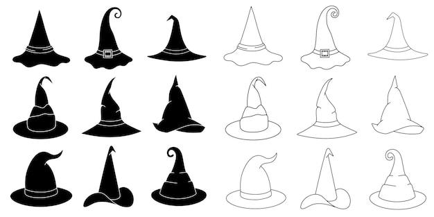 Cappello da strega set illustrazione vettoriale in stile scarabocchio. berretto da mago disegnato a mano per le vacanze di halloween