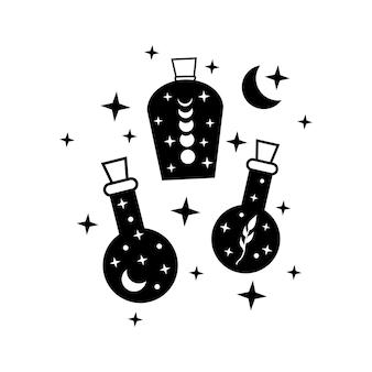 Vaso strega con luna e stelle