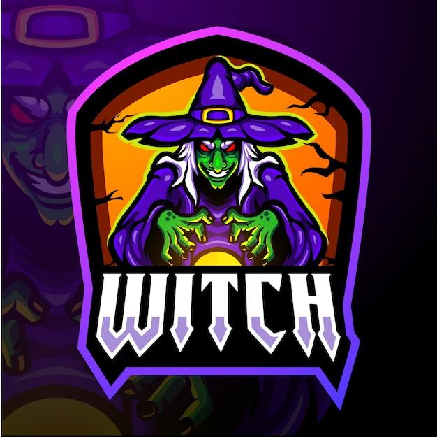 Mascotte della strega. design del logo esport