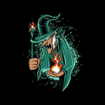 Strega anziana con fuoco in mano e bacchetta su sfondo nero