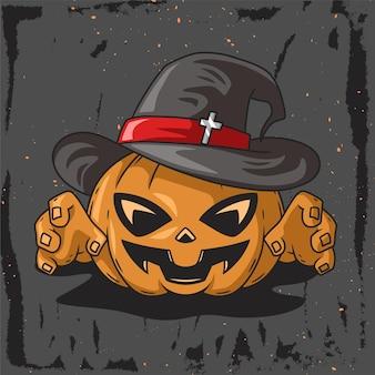 Illustrazione disegnata a mano del carattere della zucca della strega per helloween