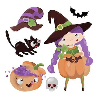 Ragazza disegnata a mano del fumetto di halloween di festa mistica della strega della zucca