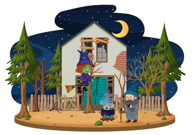 Strega in sella a una scopa davanti alla casa stregata nel bosco