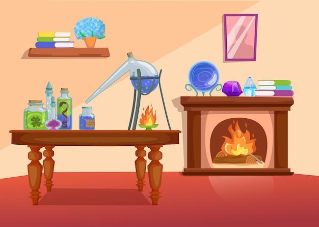 Stanza delle streghe con pozione in bottiglia, mobili e caminetto. interno di casa spettrale.
