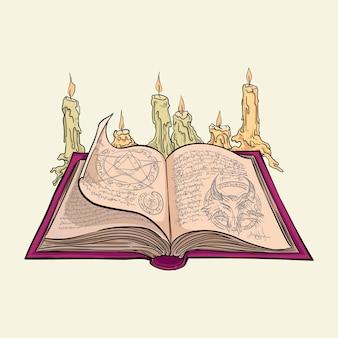 Il grimorio della strega con le candele. illustrazione vettoriale disegnato a mano isolato su priorità bassa.