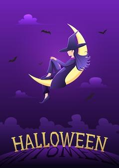 Strega seduta sulla luna crescente nella notte di halloween sopra il cimitero con testo di halloween. fondo felice della cartolina d'auguri di halloween.