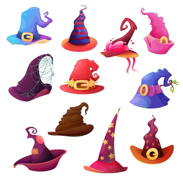 Fumetto del cappello della strega e del mago, festa di orrore di halloween. cappucci conici magici con ragnatele spaventose, ali di pipistrello inquietanti e stelle, fibbie, fiocchi e cuori, decorazioni per feste dolcetto o scherzetto