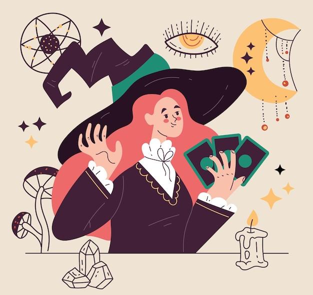 Illustrazione di stile moderno del carattere della donna della strega