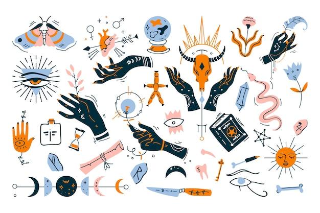 Insieme di doodle di stregoneria. raccolta di elementi di design minimalista su bianco