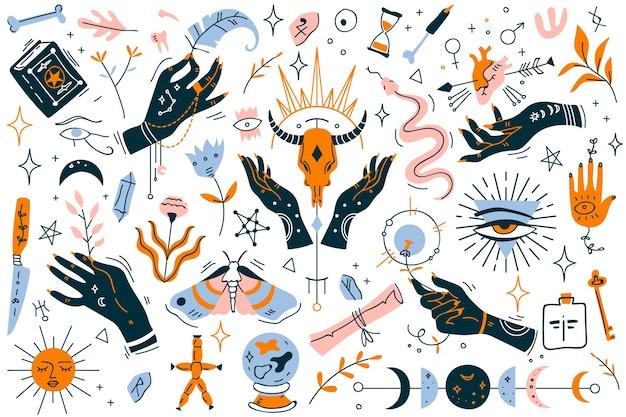 Insieme di doodle di stregoneria. raccolta di elementi di design moderno minimalista su bianco