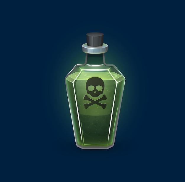 Bottiglia di vetro di stregoneria con veleno di pericolo, bevanda di pozione magica, vettore di cartoni animati. pozione velenosa verde tossica con teschio e ossa incrociate in boccetta di vetro, fiala di elisir mortale per l'alchimia spettrale di halloween
