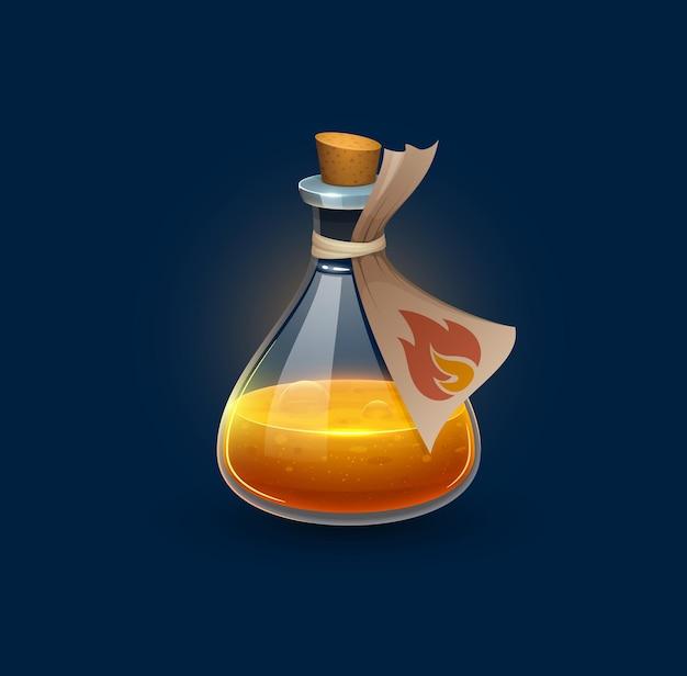 Bottiglia di pozione di vetro di stregoneria con elisir di fuoco