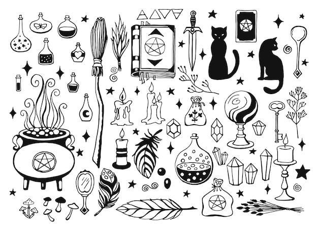 Stregoneria, sfondo magico per streghe e maghi. strumenti magici disegnati a mano.