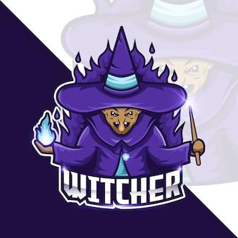 Witcher holding stick magic illustrazione concetto
