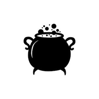 Calderone nero delle streghe con pozione magica bollente isolato su sfondo bianco