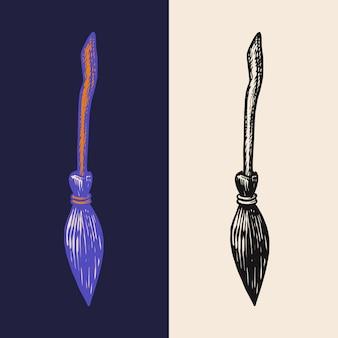 Streghe scopa bastone illustrazione vettoriale isolato su sfondo bianco halloween graphic