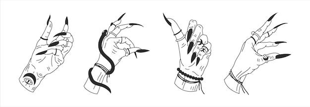 Le mani della strega in diverse posizioni illustrazione grafica mistica del profilo