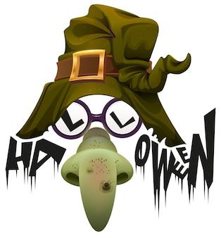 Cappello da strega naso verde e occhiali accessorio per halloween