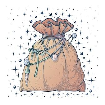 Il marsupio della strega illustrazione artistica vettoriale realizzata a mano con penna e inchiostro su carta