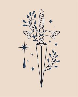 Illustrazione di coltello da strega in design in stile boho su sfondo beige chiaro illustrazione
