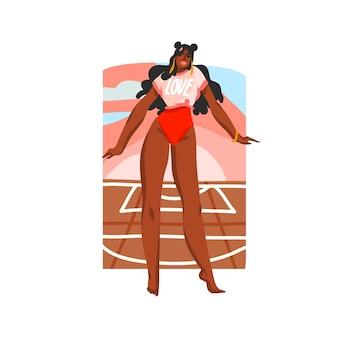 Con donna di bellezza nera in costume da bagno seduto sulla scena del campo da basket sulla spiaggia di strada,