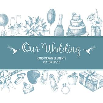 Con illustrazione di nozze disegnati a mano su bianco. sfondo di schizzo di nozze modello vintage