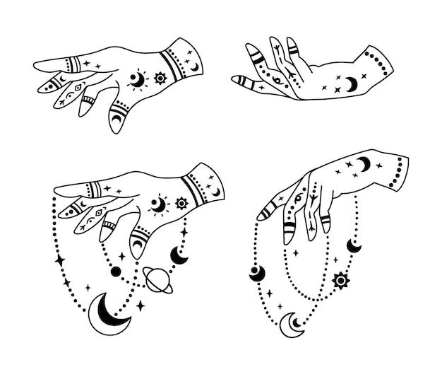 Con le mani e la mistica luna boho isolata cliparts raggruppano la collezione celeste della mano magica