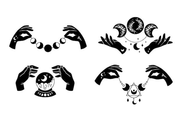 Con le mani e le clipart isolate della luna boho mistica raggruppano simboli magici delle fasi lunari