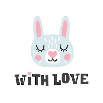 Con amore. testa di coniglio e citazione romantica disegnata a mano. carattere di faccia di coniglietto.