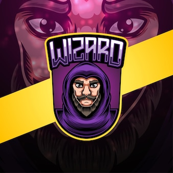 Disegno del logo mascotte di wizard esport
