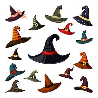 Elementi mascherati di berretti da mago e maghi