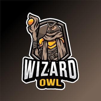 Modello di logo del gufo del mago