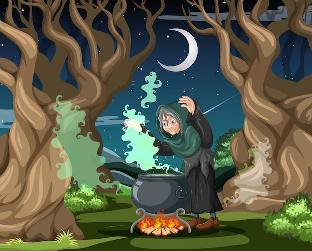 Mago o strega con pentola magica sulla foresta oscura