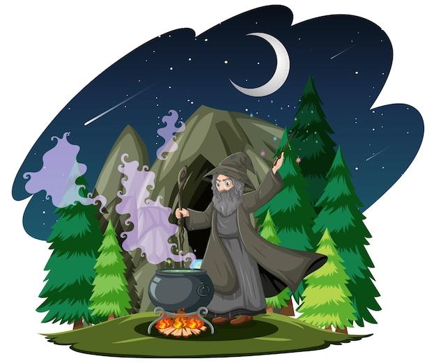 Mago con stile cartone animato pentola magica nera su sfondo scuro giungla