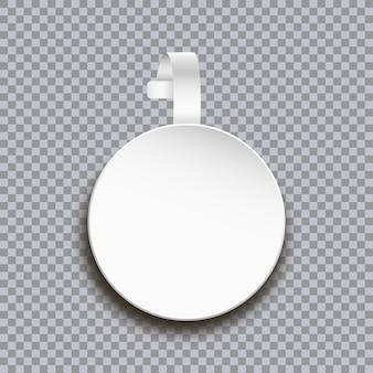 Modello di wobbler su sfondo trasparente adesivo di carta rotondo bianco vuoto per il prezzo