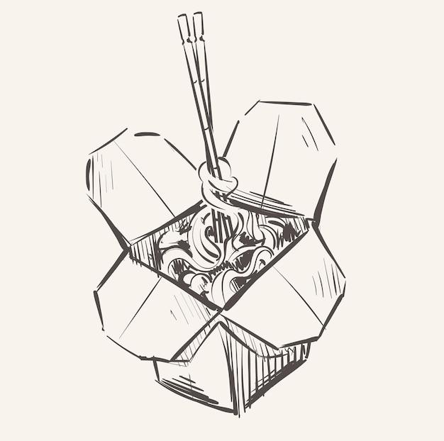 Tagliatelle asiatiche wok con schizzo di scatola di bacchette