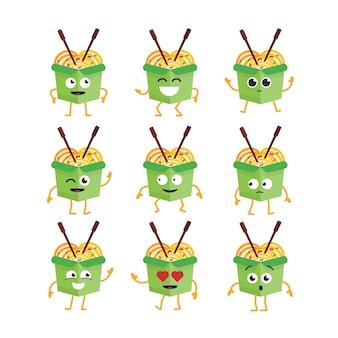 Personaggio dei cartoni animati di wok - set di modelli vettoriali moderni di illustrazioni di mascotte. immagini regalo di wok che ballano, sorridono, si divertono. emoticon, felicità, emozioni, amore, sorpresa, ammiccamento