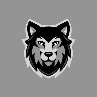Illustrazione del modello di logo del fumetto testa animale del lupo. logo esport gioco vettore premium